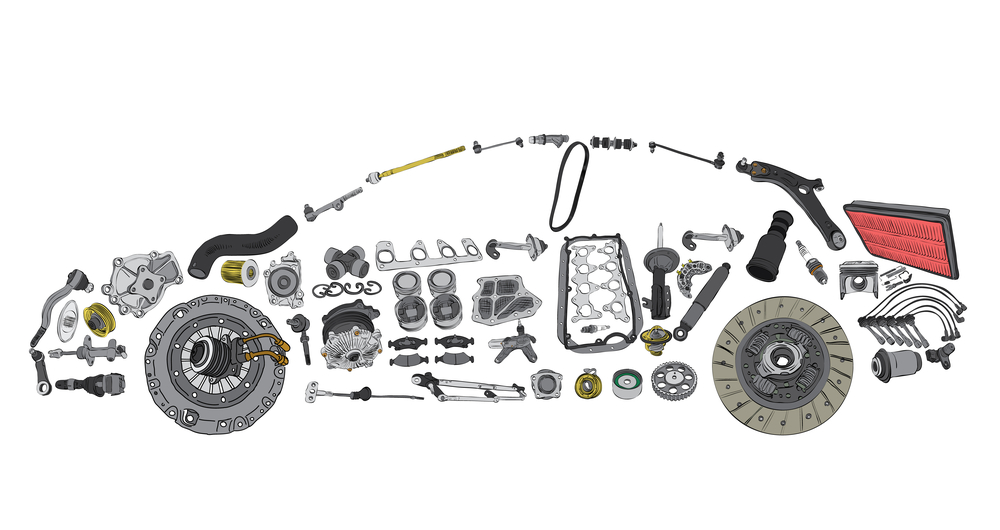 Car parts in the shape of a car